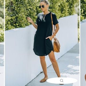 Nial Pocketed Knit T-Shirt Dress in Black